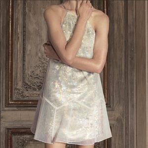 Free People Ghost Mini Dress Sequin Tulle Beige
